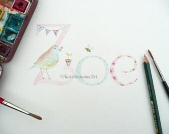 Cute Nursery Name Art, Girls Name Painting, Original Watercolour Painting, Baby Girl, Newborn,  Baby Girls Room Decor, Home Decor.