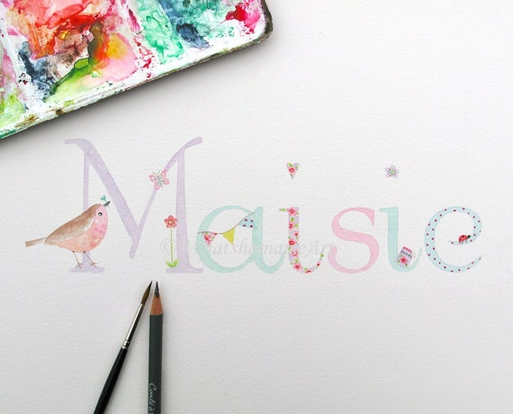 Name Art Name Painting Baby Girl Personalized Kids Etsy