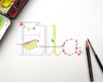 Name Art, Childrens Name, Original Watercolour Painting, Kids, Girls, Baby Gift, Girls Nursery Decor, Kids Room Decor.