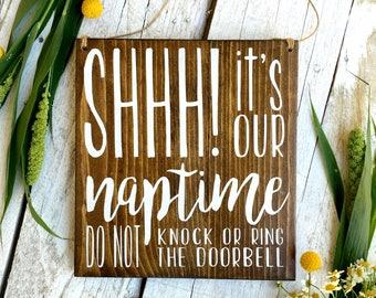Baby Sleeping Sign, Baby Sleeping Door Sign, Naptime Door Sign, Naptime Sign, Do not Disturb Door Sign, Baby Shower, Doorbell Sign