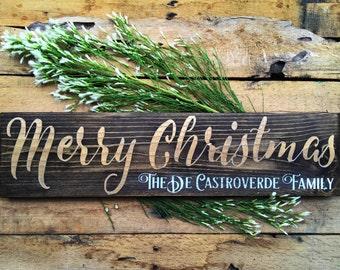 Christmas Sign, Personalized Christmas Sign, Merry Christmas Wood Sign, Wood Sign, Christmas Decor, Holiday Decor, Christmas