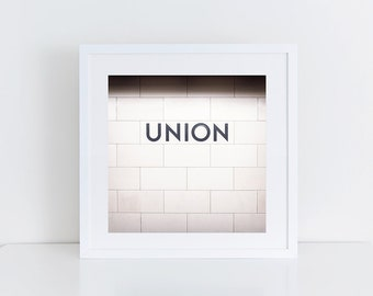 Union Station Toronto Subway Sign Print - Monochrome Wall Art, Black and White Wall Art - Made in Canada