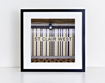 Toronto Subway St Clair West Station Square Wall Art - Subway Sign Decor - Made in Canada Toronto Photography