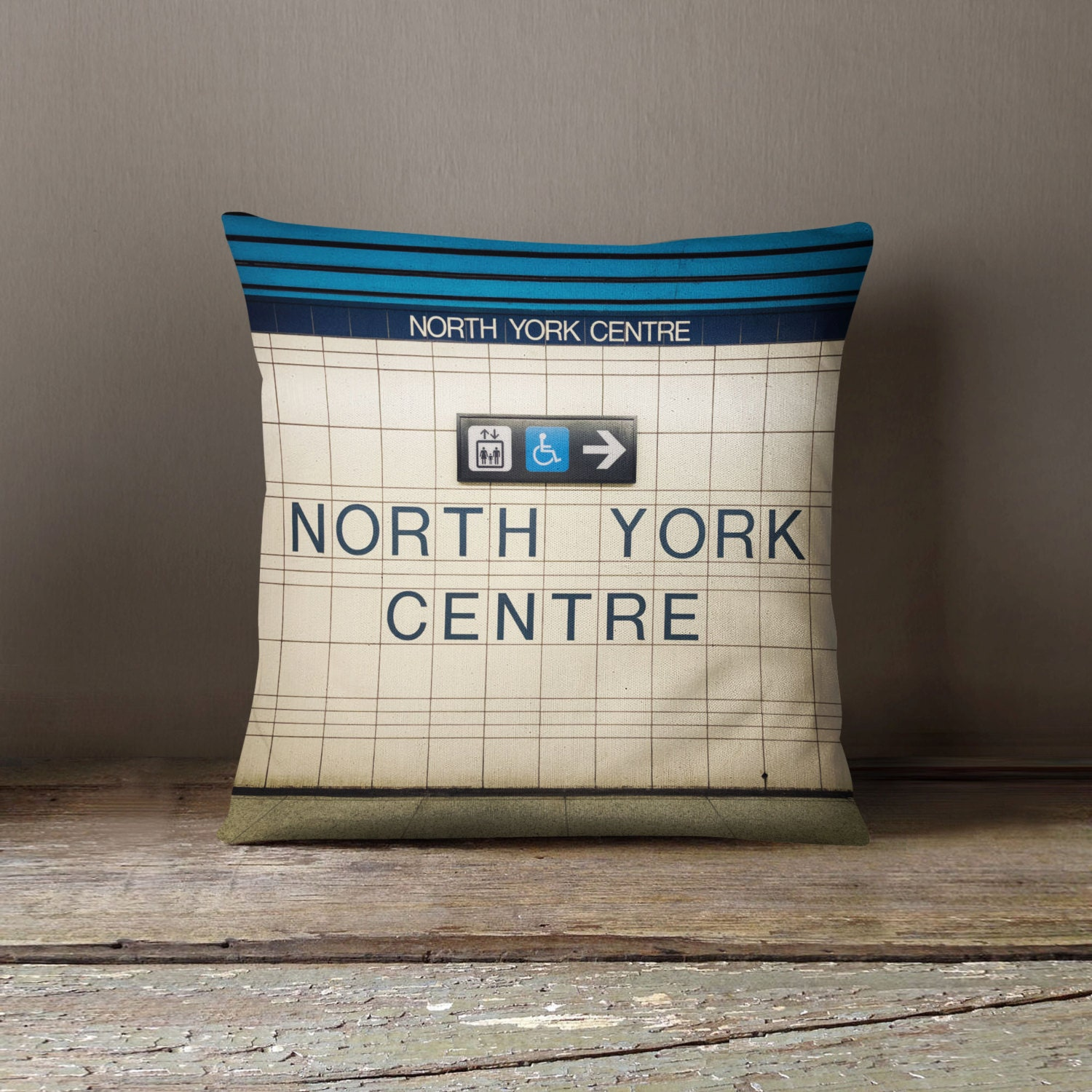 North York Toronto Subway Station Sign Pillow Made In Canada Etsy