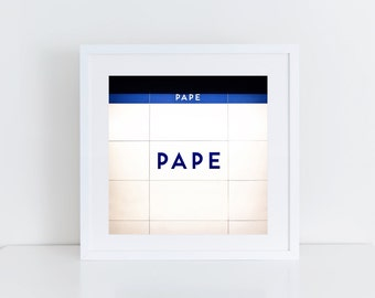 Toronto Subway Pape Station Sign - Toronto Photography - Made in Canada Subway Sign Retro Square Wall Art