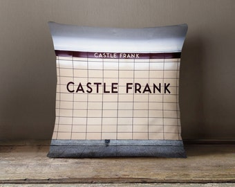 toronto subway sign pillow castle frank station maroon home decor subway art