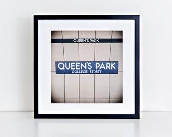 Toronto Queen's Park Subway Sign Print - Retro Square Wall Art, Blue Wall Art - Made in Canada Toronto Art