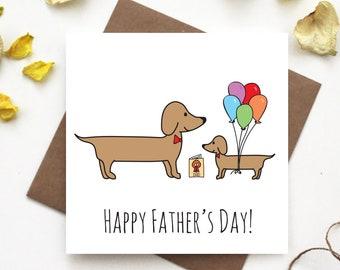 Dachshund Fathers Day Card- Sausage Dog Fathers Day Card