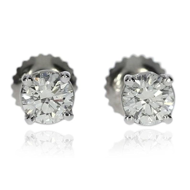 e55c3b404 Diamond Stud Earrings For Women 14K White Gold Earrings1.01 | Etsy