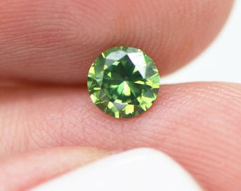 Green Diamond Color, Certified Green Diamond, Round Shaped, Loose Green Diamond 0.47 Carat VS2 For Green Diamond Ring