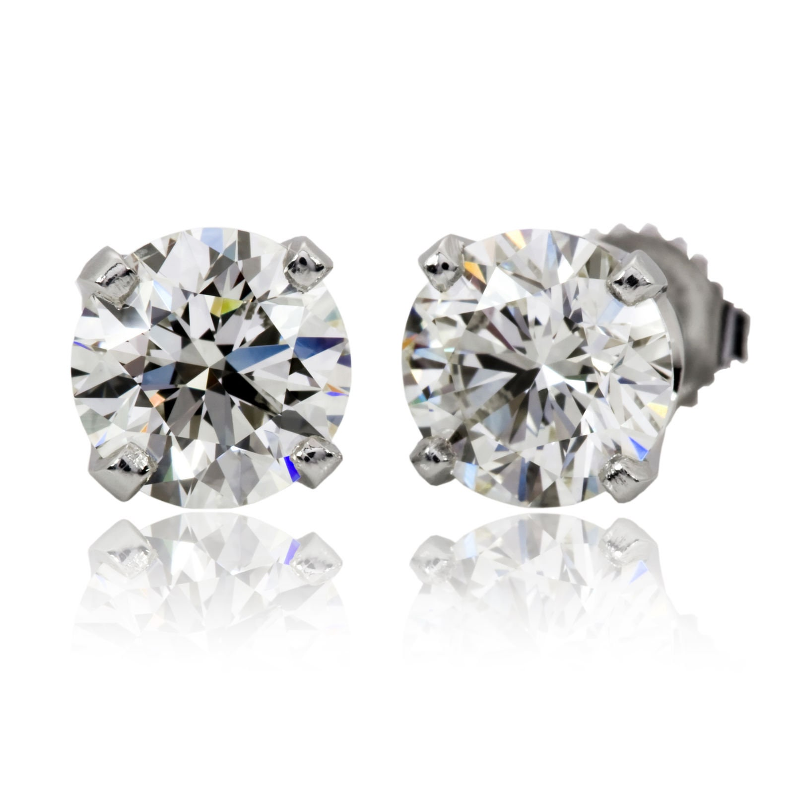 1 34 Carat Round Shape Real Solitaire Diamond Stud Earrings