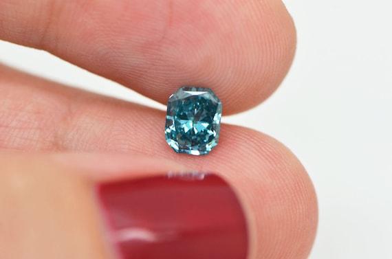 Radiant Cut Diamond Fancy Blue Color Enhanced Certified 0.94 Carat VS2 For Ring