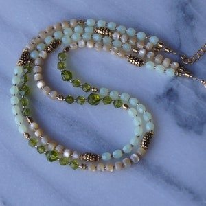 Opalite  and Mother of pearl Double Strand August Birthstone Peridot Multicolor Necklace