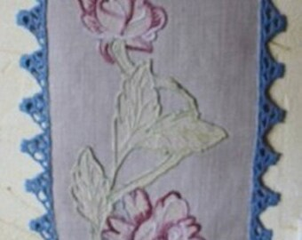 French antique linen and hand embroidered wall decoration
