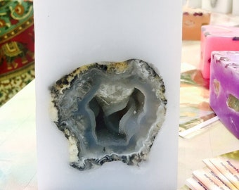 Crystal Geode Candle~ Tall White Square Purifying Candle with an inlaid Crystal Quartz Geode Burns for 200 hours illuminating when lit!