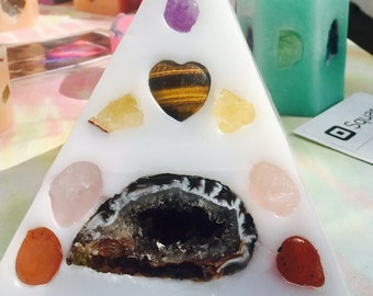 Crystal Candle ~ Mini Pyramid Candle w/ an inlaid Geode, Amethyst , Citrine, Rose Quartz,  & Clear Quartz that illuminate when lit.