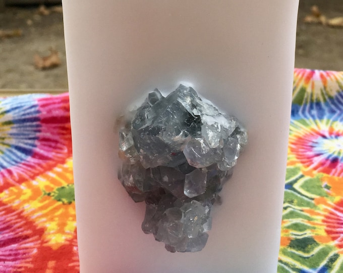 Crystal Candle~ White Tall Square Scented Candle with an inlaid Blue Celestine Cluster that illuminates when lit!
