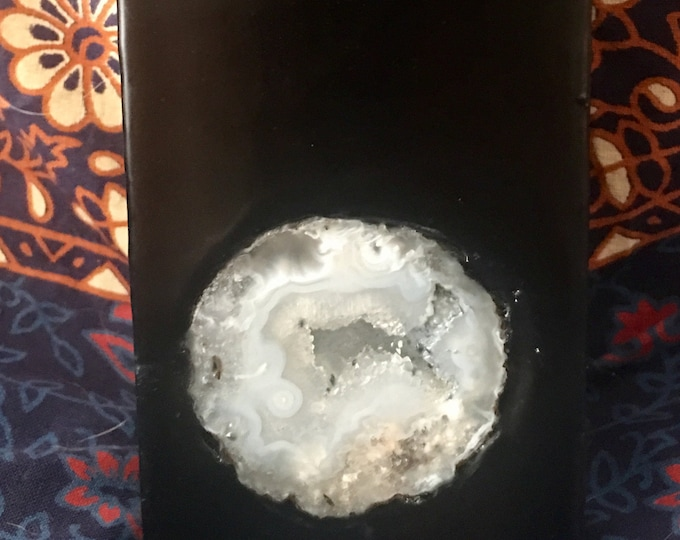 Crystal Candle  ~ Black Tall Square Pillar Scented Candle with an inlaid Crystal Geode that illuminates when lit!