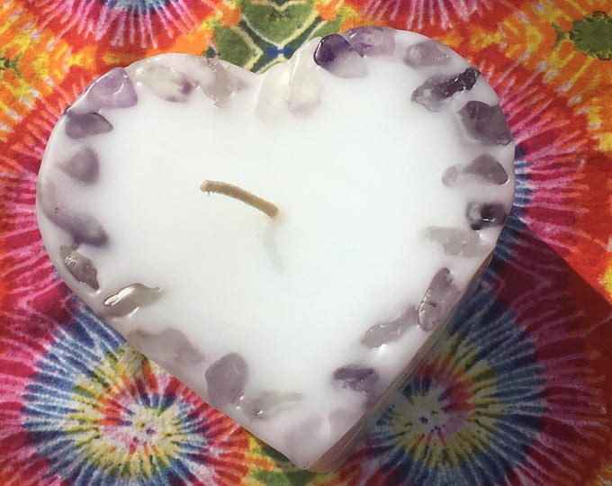 Love is the Answer ~ Crystal & Gemstone Large Heart Candle - White with inlaid Amethyst, Green Calcite and Citrine that illuminate when lit!