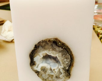 Crystal Candle  Small Square Candle with an inlaid Crystal Geode that illuminates when lit!