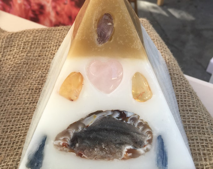 Crystal Candle ~ Mini Pyramid Candle w/ an inlaid Geode, Amethyst , Citrine, Rose Quartz,  & Clear Quartz that illuminate when lit.