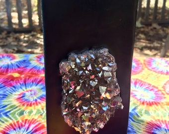 Crystal Candle~ Black Tall Square Protection & Abundance Candle with an inlaid Silver Aura Quartz Crystal Cluster! Burns for 200 hours