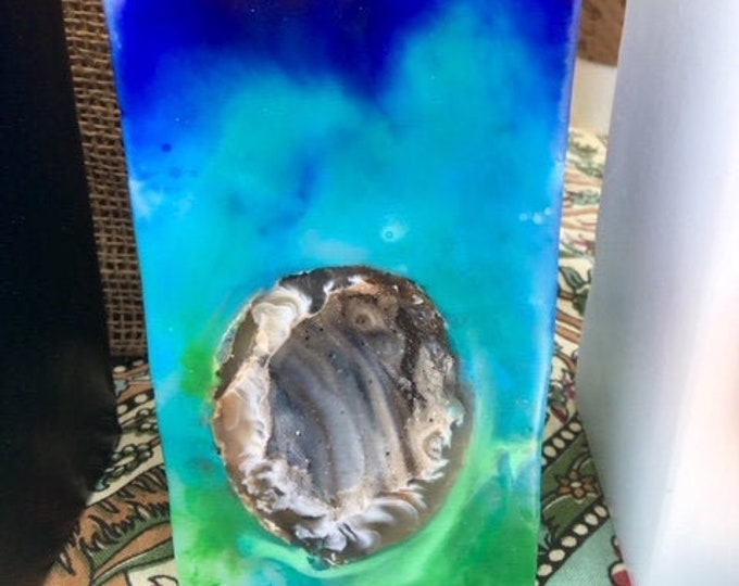 Crystal Geode Candle~ Tall Square Tie Dyed Crystal Candle with an inlaid Crystal Geode that illuminates when lit! Burns for 200 hours