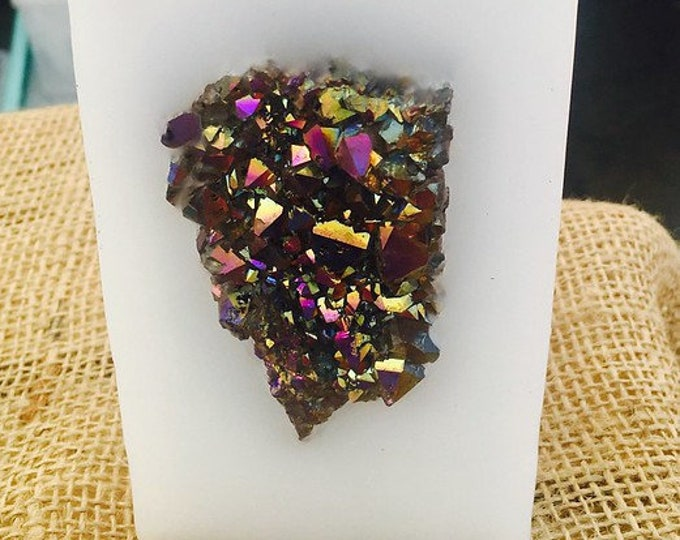 Crystal Candle ~White Tall Purification & Protection Crystal Candle with an inlaid Rainbow Aura Amethyst Crystal Cluster! Burns for 200 hrs