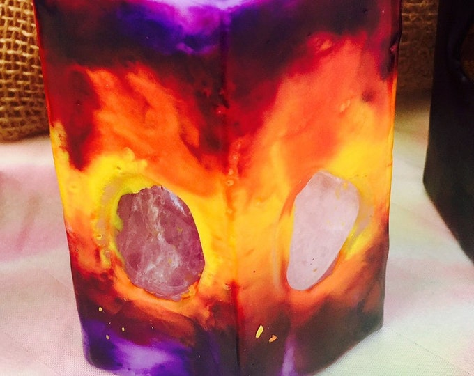Crystal Candle ~Small Hexagon Sun Candle Tie Dyed Yellow, Orange, Red & Purple inlaid with Crystals and Gemstones that illuminate when lit!