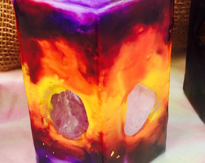 Crystal Candle ~ Small Hexagon Sun Candle Tie Dyed Yellow, Orange, Red & Purple inlaid with Crystals and Gemstones that illuminate when lit!
