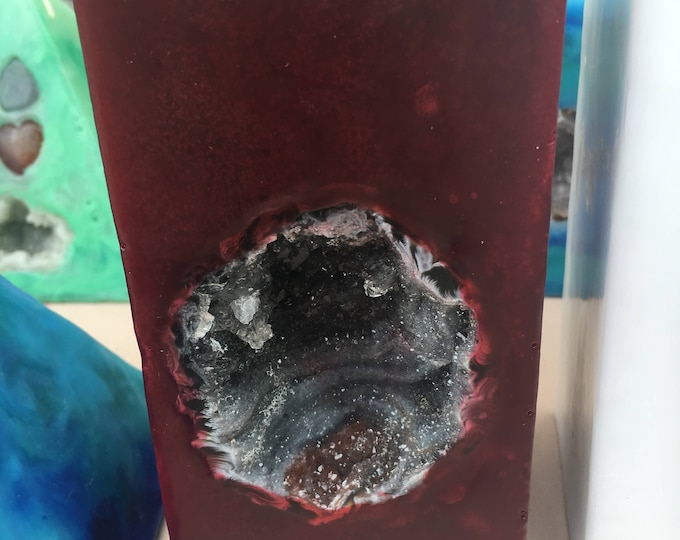 Crystal Candle~ Deep Red Tall Square Scented Pillar Candle with an inlaid Crystal Geode that illuminates when lit!