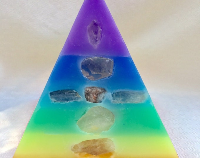 LG 7 Layer Pastel Chakra Pyramid Candle w/ inlaid Crystals and Gems that correspond to each Chakra  & illuminate when lit! Burns for 250 hrs