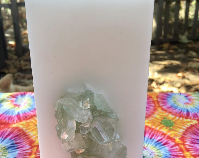 Crystal Candle~ Goddess White or Black Elegant Tall Square Crystal Candle with an inlaid Apophyllite Cluster that illuminates when lit!