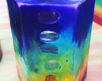 Crystal Chakra Candle ~7Layer Small Hexagon TieDye Candle inlaid w/ Crystals & Gemstones that represent each Chakra and illuminate when lit!