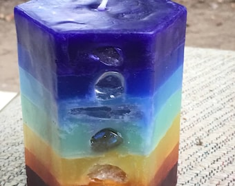 Crystal Chakra Candle ~Small Hexagon Candle inlaid with Crystals & Gemstones that represent each chakra point and illuminate when lit!