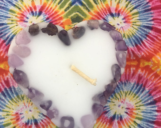 Love is the Answer~Small Heart Crystal Candle inlaid with Amethyst Crystals that illuminate when lit!