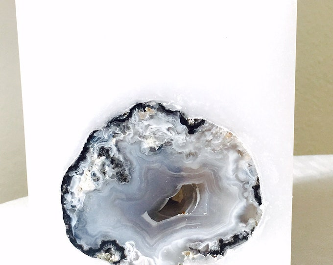 Crystal Geode Candle ~ Chub Square Candle with an inlaid Crystal Geode that illuminates when lit! Burns for 175  hours