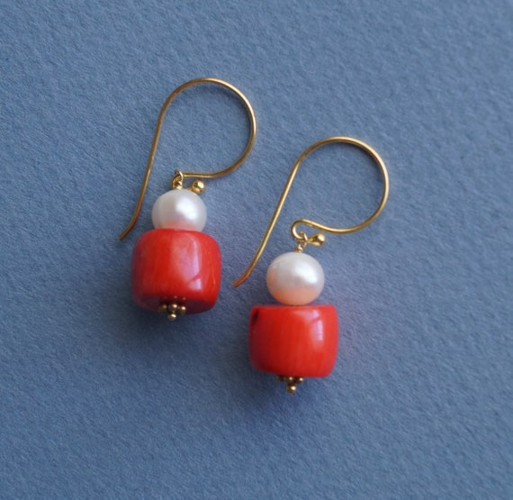 Italian coral and Keshi pearl earrings Gold plated Sterling silver
