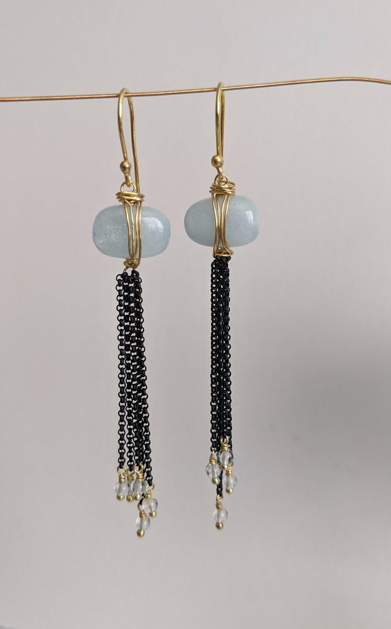 Gold Filled Wire Vermeil Earring Gemstone Earrings Aquamarine and Mixed Metal Long Chain Earrings March Birthstone Modern Bridal Jewelry