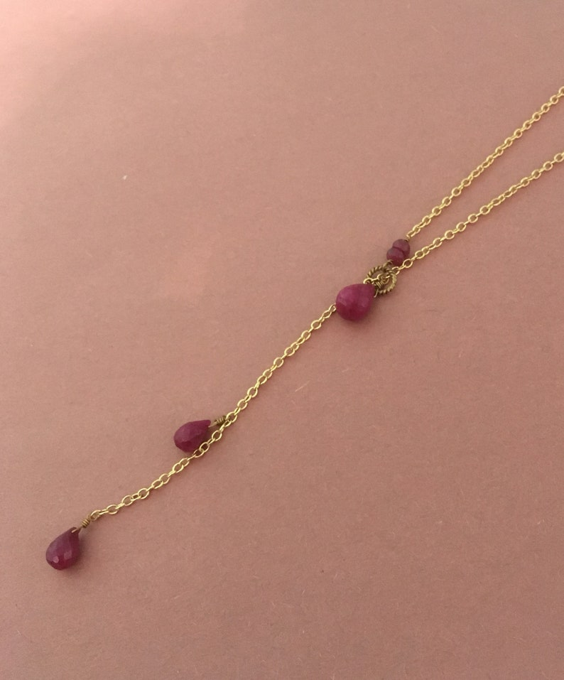Vermeil Beaded Briolette Necklace Semi Precious Stone Lariat Necklace Ruby Double Drop Lariat Necklace 24K Gold Filled July Birthstone
