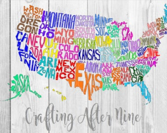50 Indiviual States SVG, USA Svg, United States of America Svg, All States SVG, States Outline Svg, States CUtting File Svg, State Cut File