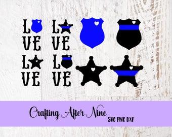 Love Svg, Police Badge Love, Back the Blue, #bluelivesmatter, Svg Bundle, Police SVG, Cop SVG, Thin Blue Line, Law Enforcement Cut File,