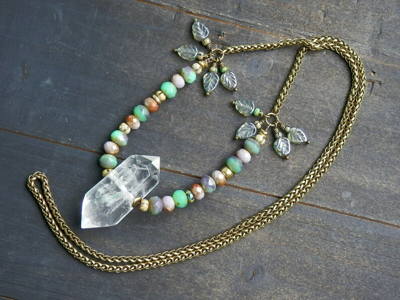 0edffa9708a4 Quartz and Czech crystal necklace   Collar de cuarzo y cristal