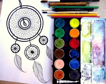 Adult coloring book page Dreamcatcher digital stamp Printable coloring page Adult coloring page Printable digi stamp Coloring sheet download