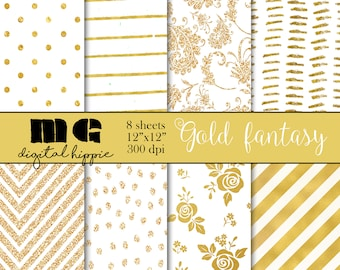 Gold pattern paper Gold digital paper Textured gold digital paper Gold glitter paper Patterned paper instant download Gold Digital papers