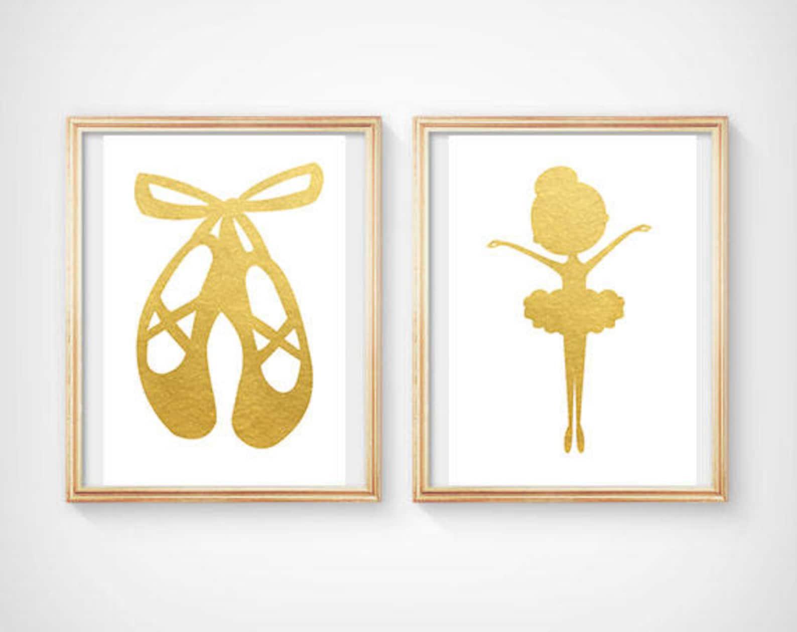 ballet shoes print ballet wall decor gold ballet shoes poster ballerina wall decor ballerina dancer art ballerina decor ballerin