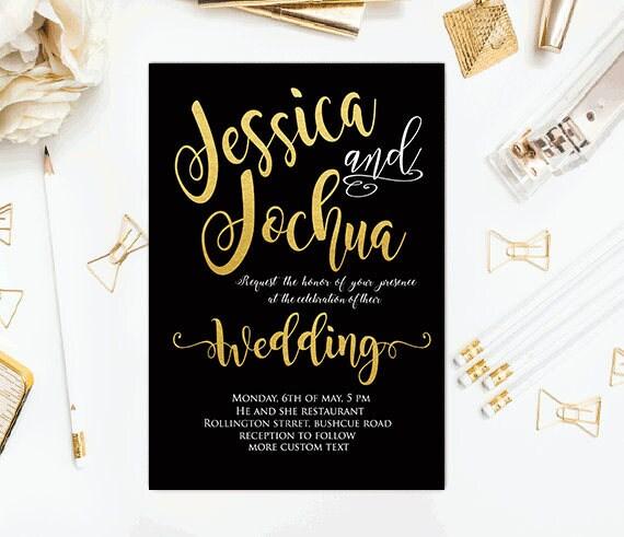 Schwarz Gold Hochzeit Einladungen Goldene Hochzeit Einladung Druckbare Gold Einladung Einfach Schwarz Gold Hochzeit Einladung Hochzeitstag