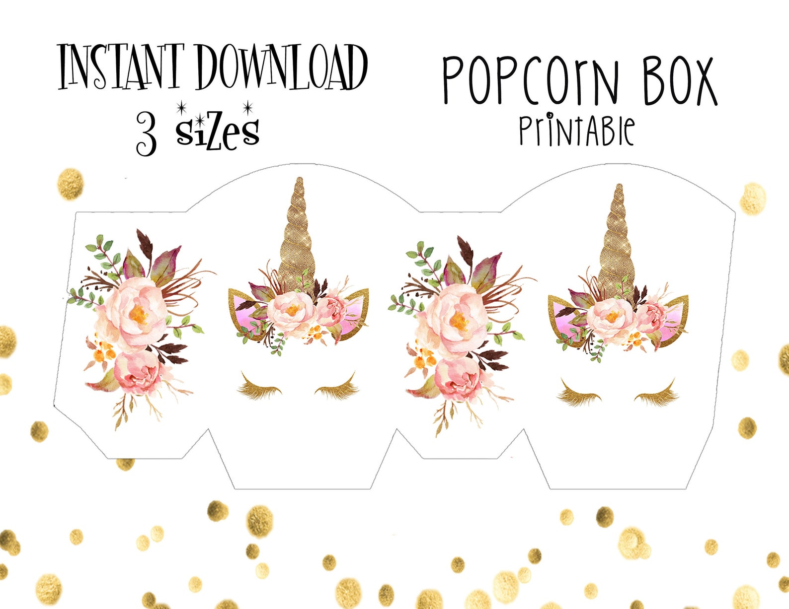 Printable Unicorn Party Favor Boxes Page Two