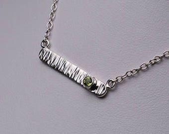 Peridot Hammered Bar Pendant
