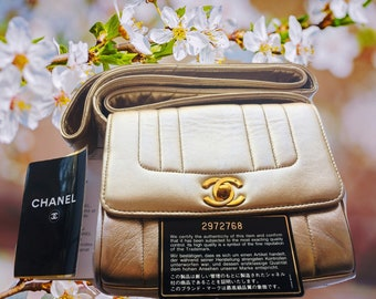 d08389f7470d 100% Authentic CHANEL Mademoiselle Gold Genuine Calfskin Leather Small  Shoulder Bag Crossbody Bag Gorgeous Vintage France Coco CC